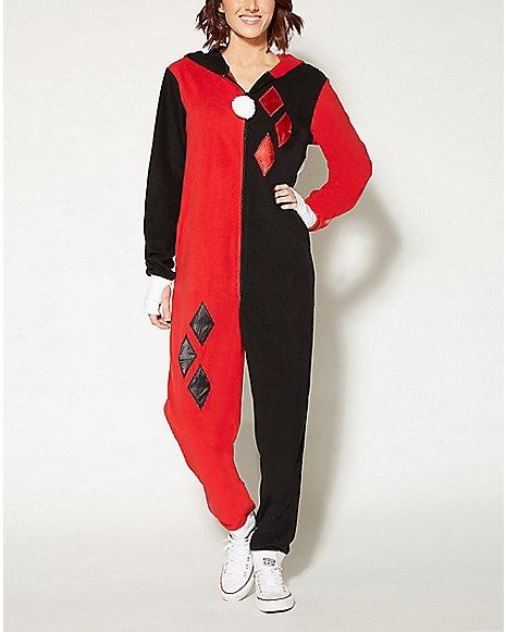 6e8d88f9ddd Harley Quinn Dropseat Hoodie Footie Onesie Pajamas - Spencer s I NEED THIS