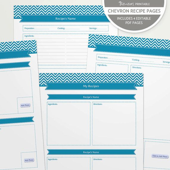 Chevron Printable And Editable Recipe Binder Pages In Blue