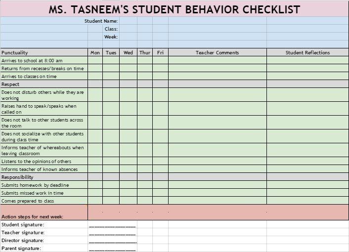 Checklist to monitor high school studentsu0027 behavior that impacts - school action plan template