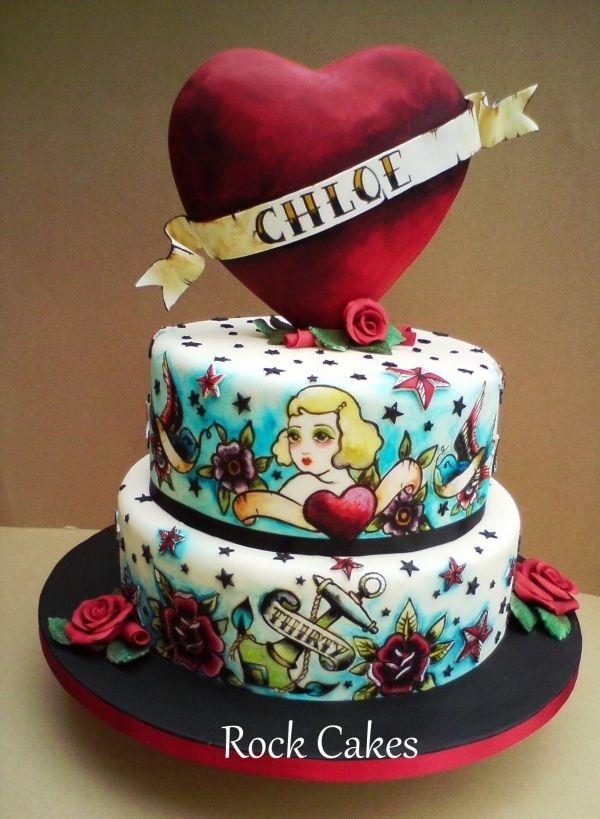 Tattoo Cake, Rock Cake, Painted
