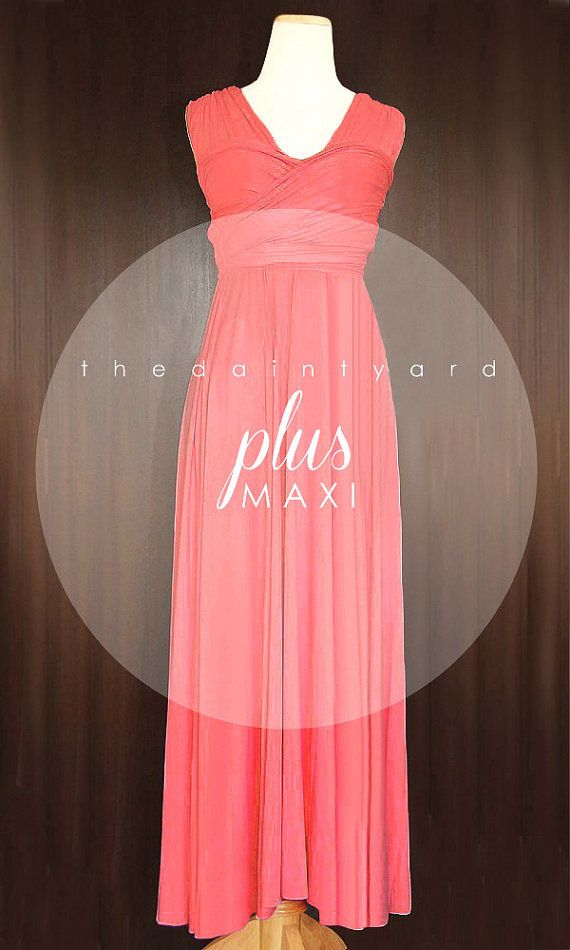 Tdy Plus Size Coral Maxi Bridesmaid Dress Convertible Dress Infinity