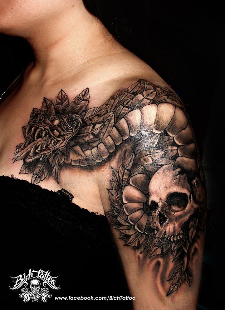 Quetzalcoatl Con Cráneo Tattoo Sombras Tatuaje Realizado Por Héctor