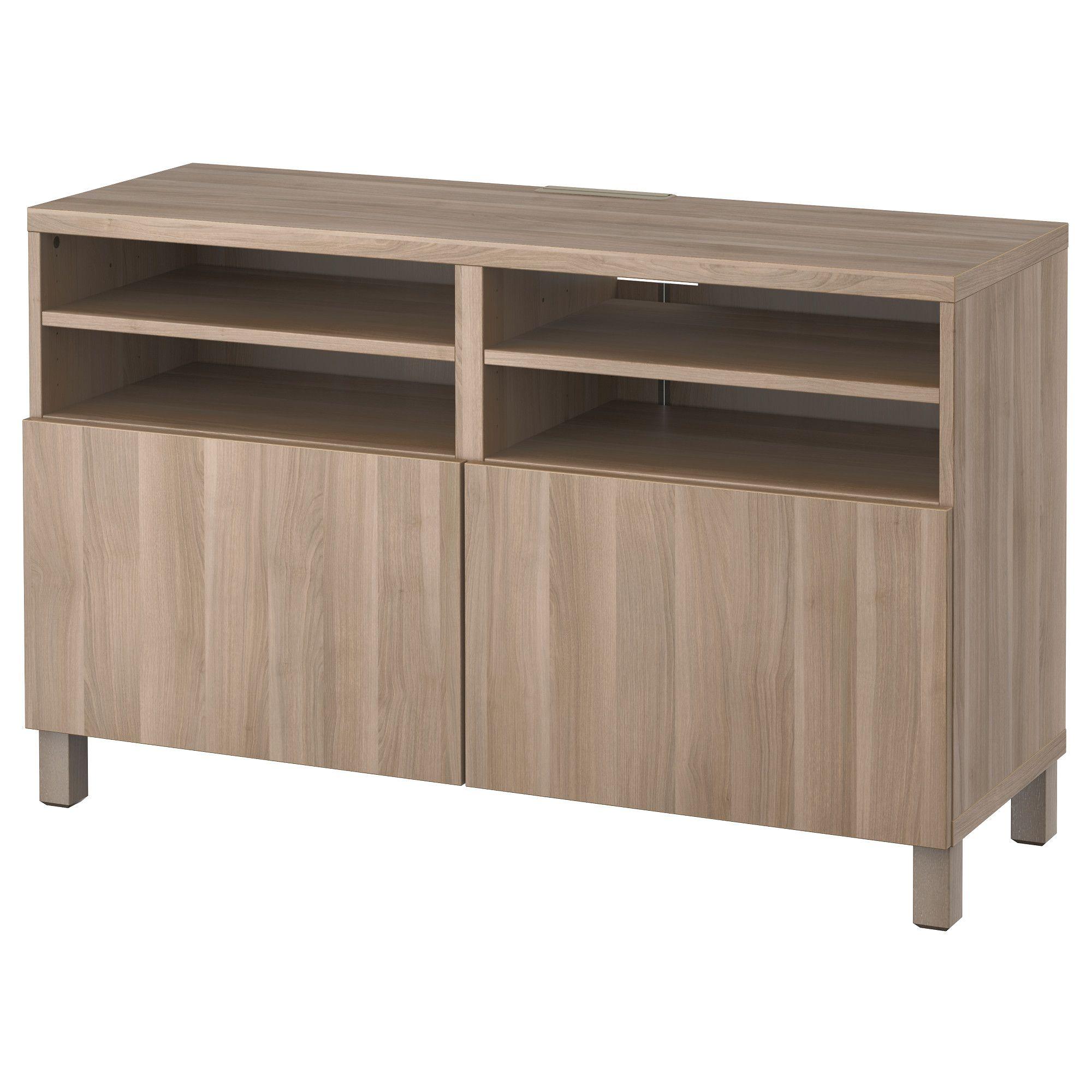Best Tv Bank Mit T Ren Lappviken Grau Las Nussbaumnachb  # Banc Tv Ikea Besta Noyer Teinte Gris