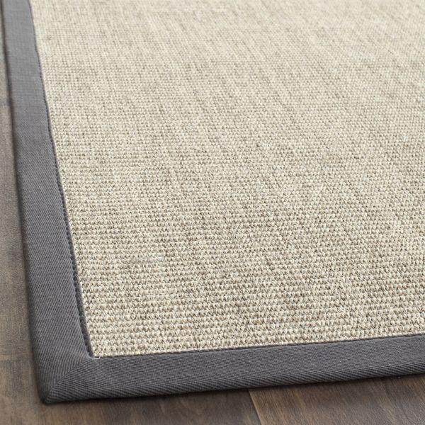 Safavieh Casual Natural Fiber Marble And Grey Border Sisal Runner 2 6 X 12
