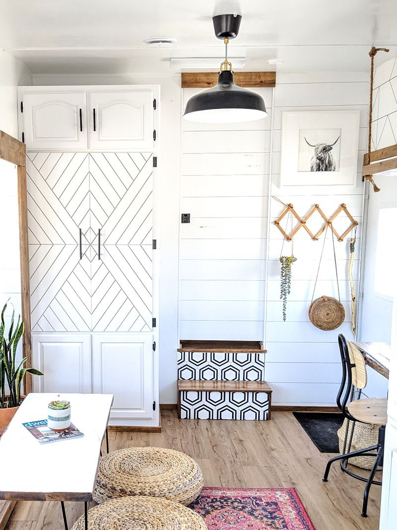 Photo of This RV was transformed into a tiny modern farmhouse! Featuring @WhiteHouseMuddyFeet on MountainModernLife.com