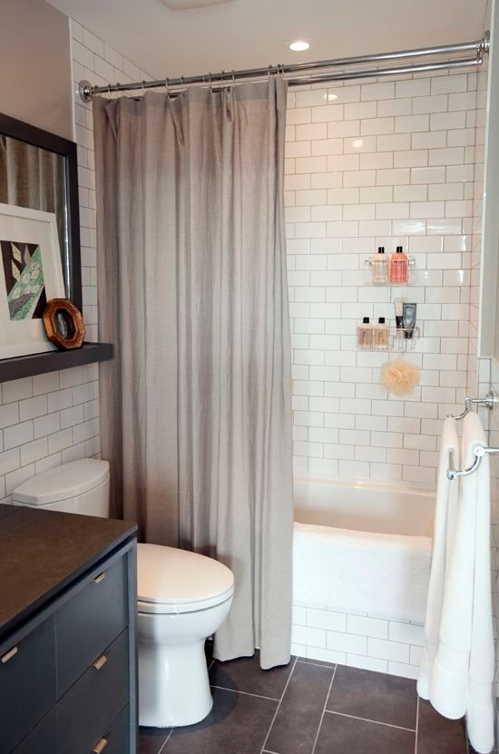 Small Bathroom Dark Tile Floor Subway Tile In Shower By Mgauna Small Bathroom Decor Bathroom Decor Pictures