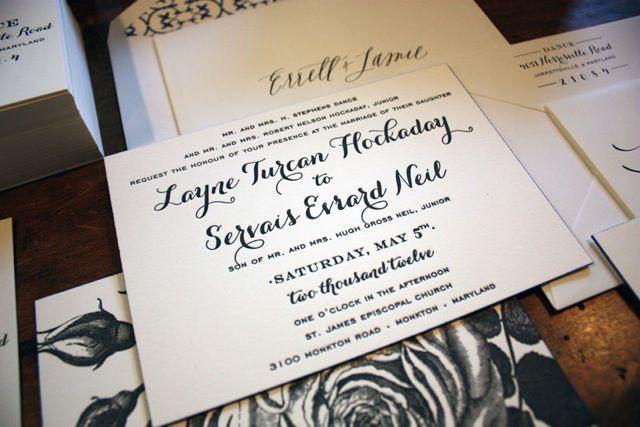 Turcan Evs Formal and Elegant Black White Wedding Invitations