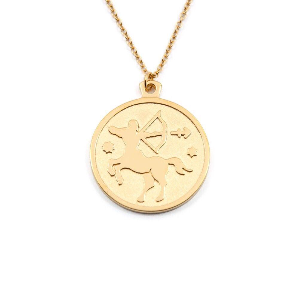 963871af7 Anna Saccone's Zodiac Jewellery Collection | Stilnest - SAGITTARIUS - ZODIAC  SIGN High Gloss & Sandblasted 925 Silver Gold Plated Necklace $94