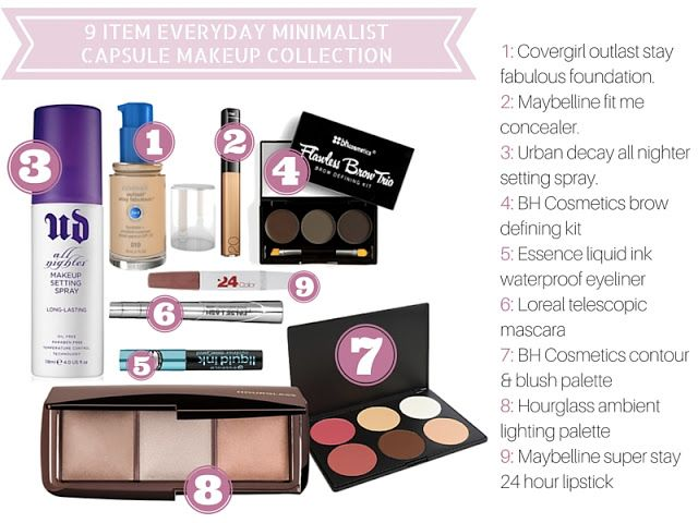 Product List For 9 Item Everyday Minimalist Capsule Makeup