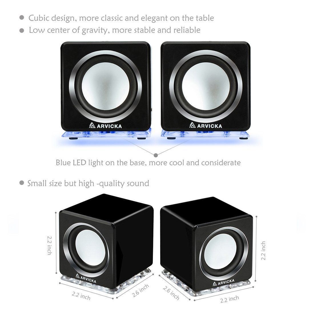 ARVICKA Expansive Audio USB Speaker- Blue LED Wired 2.0 Channel ...