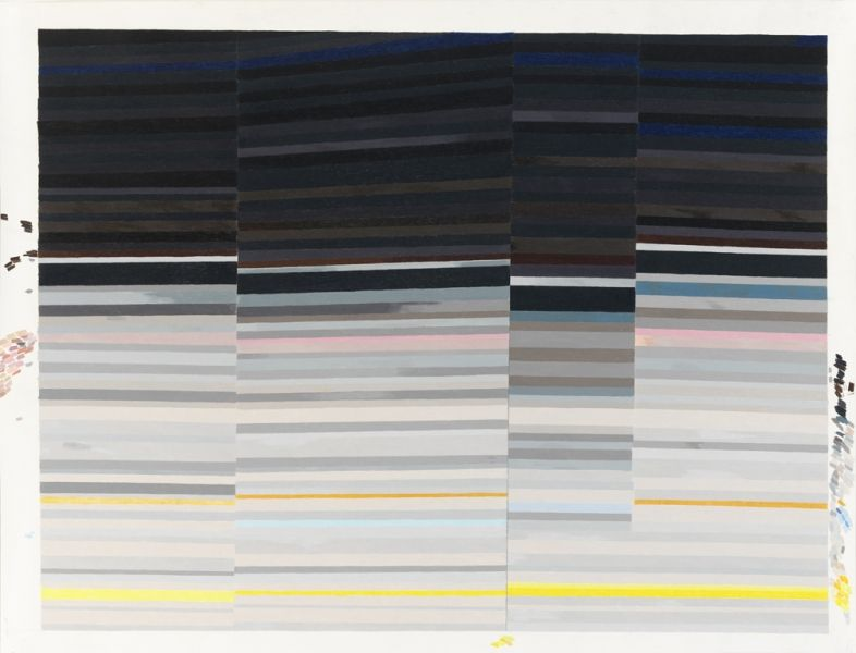 Carrie Gundersdorf Four Section of Saturns Rings, 2013 colored pencil and watercolor on paper 46 x 60