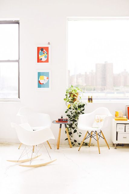A fresh work space in white and orange