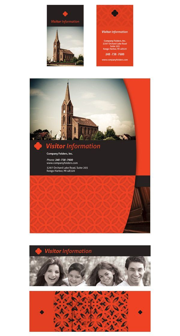 Sample church visitor folder packet card template front view with sample church visitor folder packet card template front view with belly band and business cards flashek Images