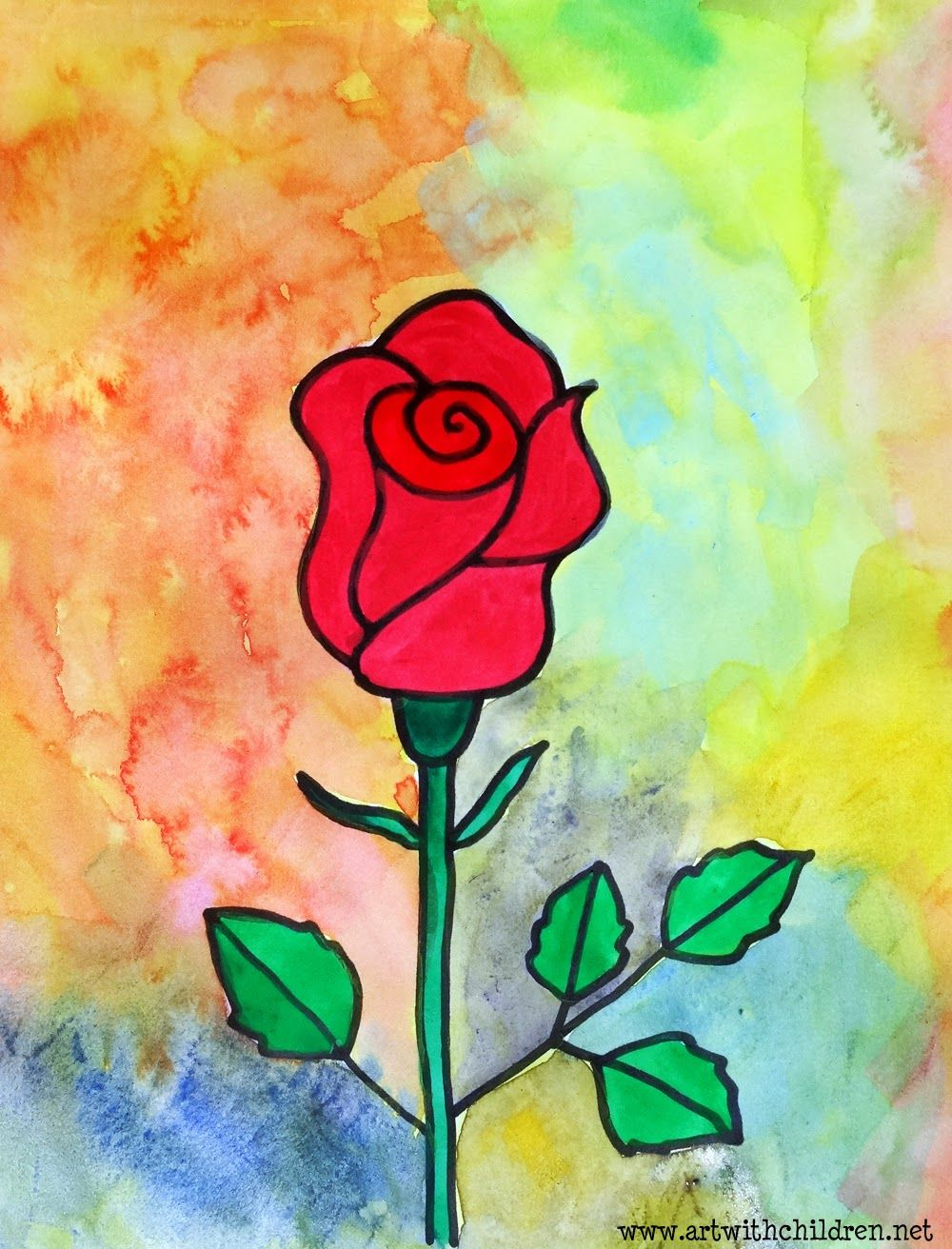 Art With Children Easy Drawing And Painting A Rose Painting
