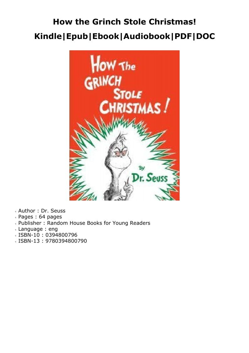 P D F How The Grinch Stole Christmas Kindle Grinch Stole Christmas House Book Audio Books