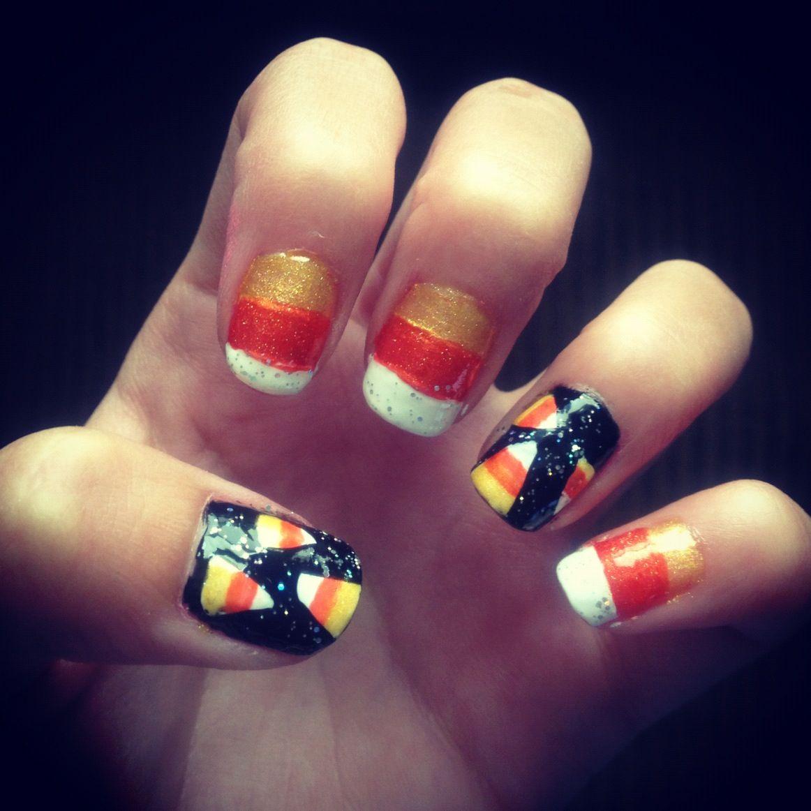 halloween candy corn nails