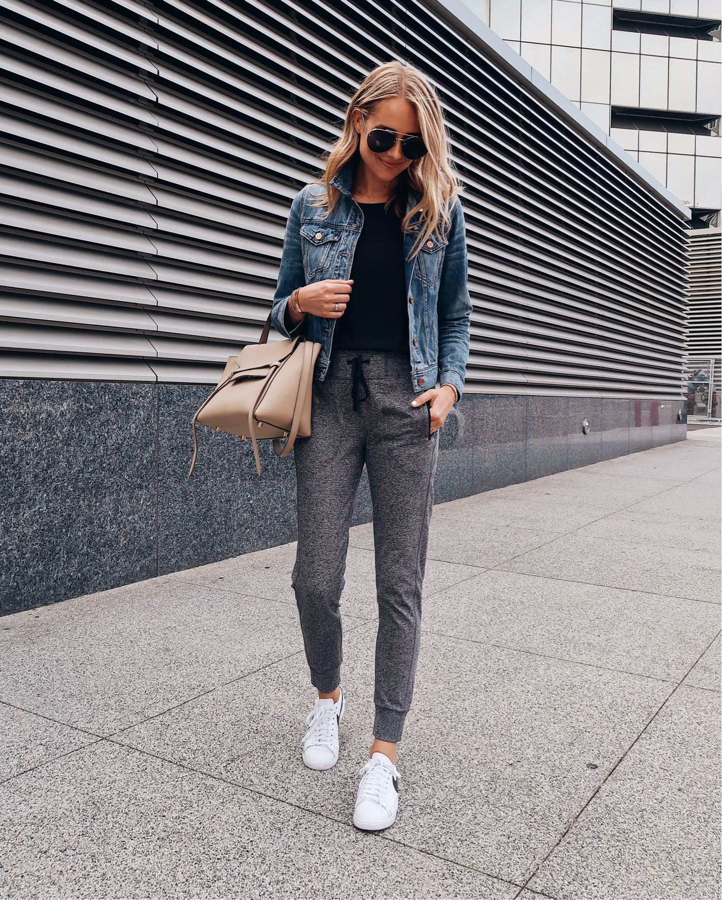 White sneakers + joggers and denim perfect off duty style