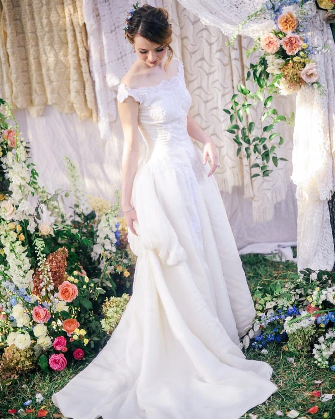 Wedding dress train bustle  True to herself Jane Aldridge of seaofshoes skipped the bridal