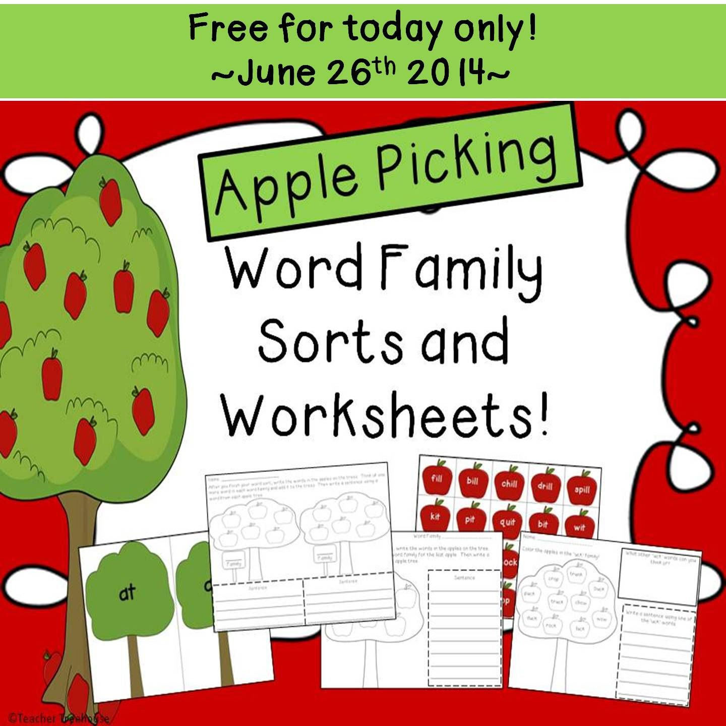 Beginning Of The Year Word Families Sort And Worksheets