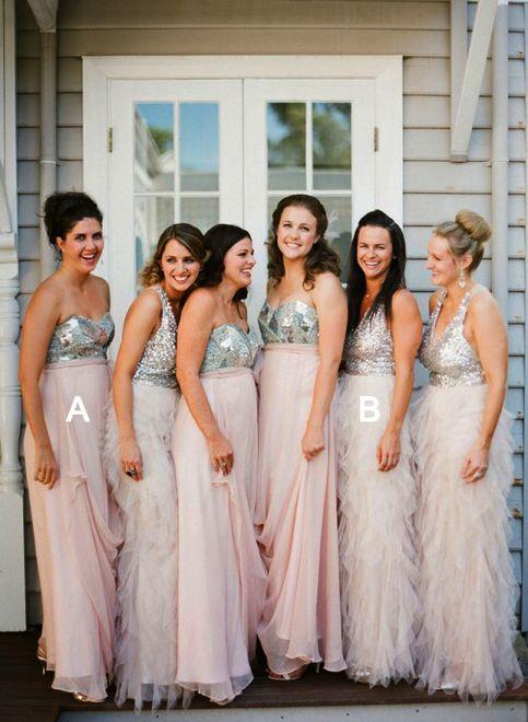 Mismatched Bridesmaid Dresses Silver And Blush Pink Chiffon Pd2195