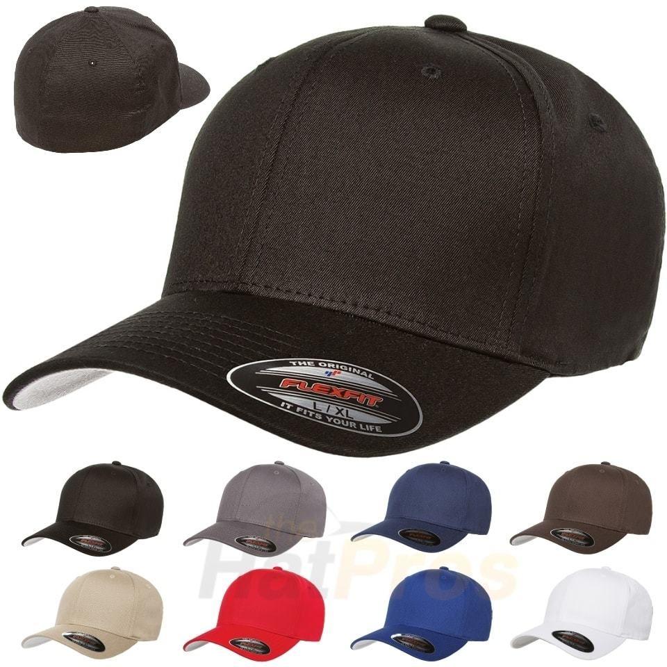 Fitted V Cotton Twill Baseball Cap Flex Fit 5001 Flexfit Ballcap Plain Hat