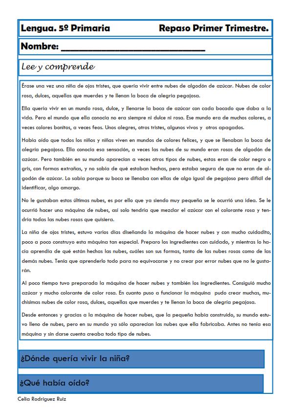 Fichas de Lengua para Quinto de Primaria | Actividades de PDL ...