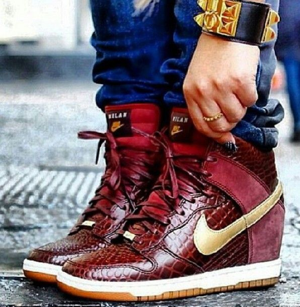 shoes nike dunks wedges gold burgundy snake skin snake skin print