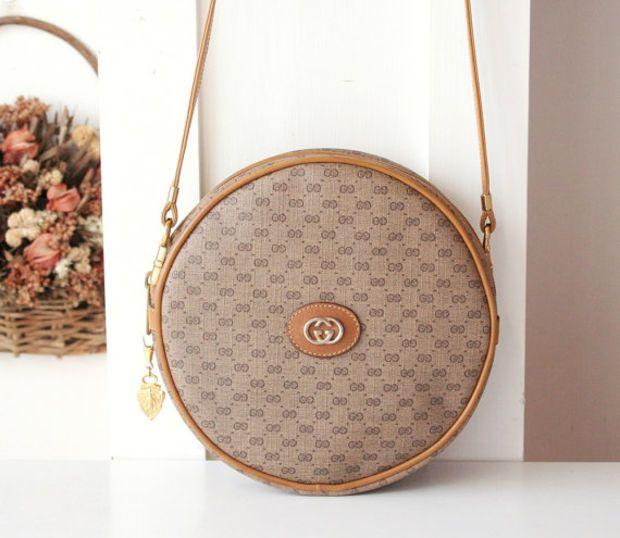 53e349a02 Gucci Bag Vintage Monogram Brown Round Shoulder Handbag Purse Authentic