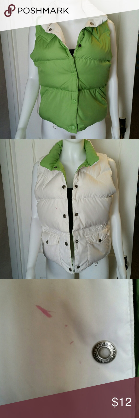 American Eagle Reversible Vest Excellent condition apart from a small pink spot on the white side. You can still wear it green side out, great vest overall but priced accordingly. American Eagle Outfitters Jackets & Coats Vests