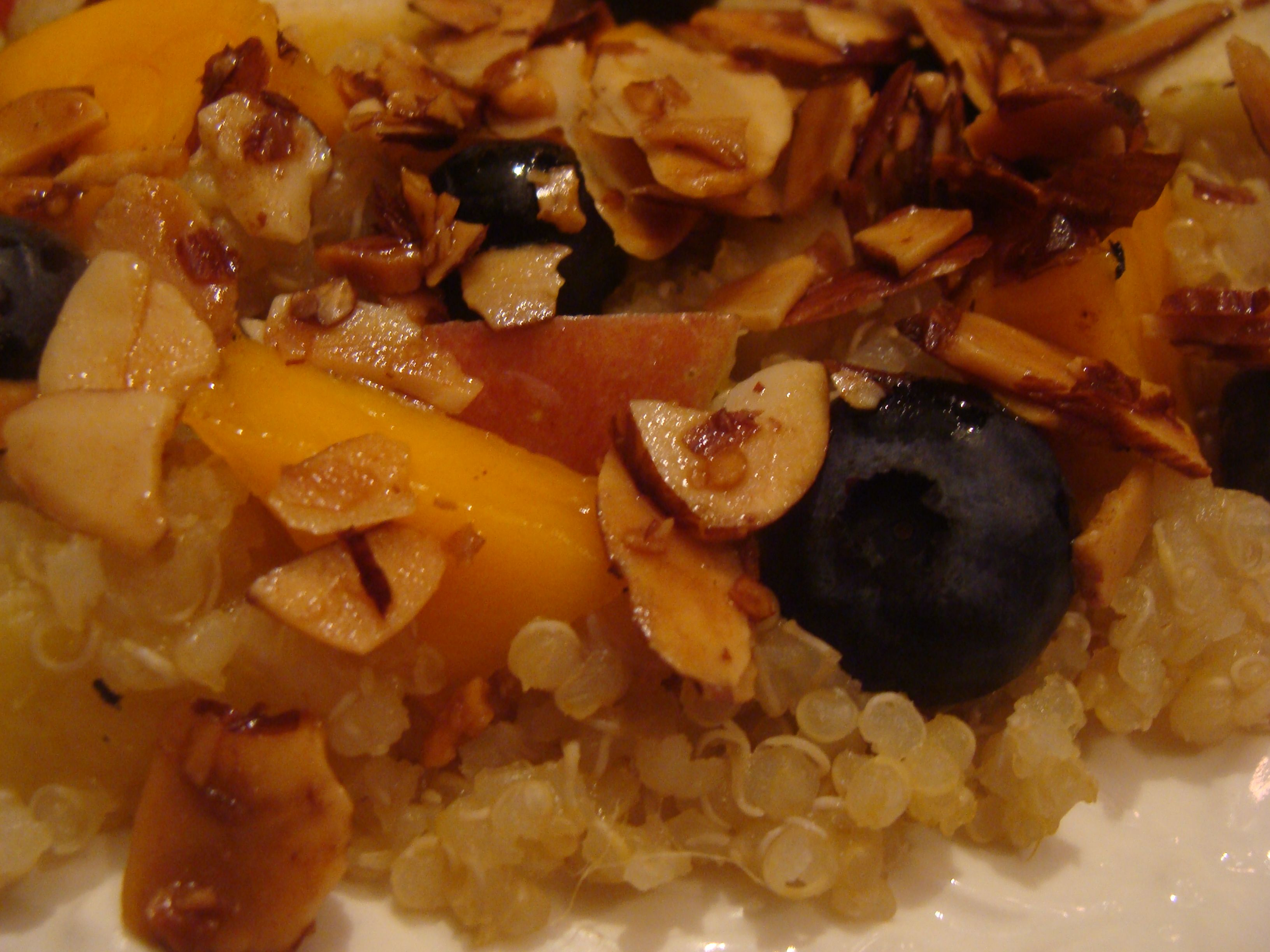Quinoa, cooked with mango, apple and pineapple.  Served with fresh blueberries, mango, apple, pineapple, and topped with toasted almonds.