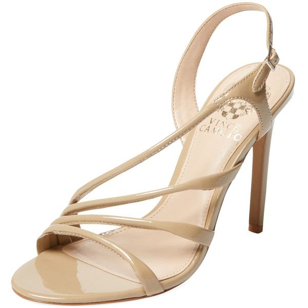 Vince Camuto Women's Tiernan Asymmetrical Sandal - Light Beige - Size... ($39) ❤ liked on Polyvore featuring shoes, sandals, light beige, metallic sandals, high heel sandals, ankle strap high heel sandals, beige sandals and vince camuto sandals
