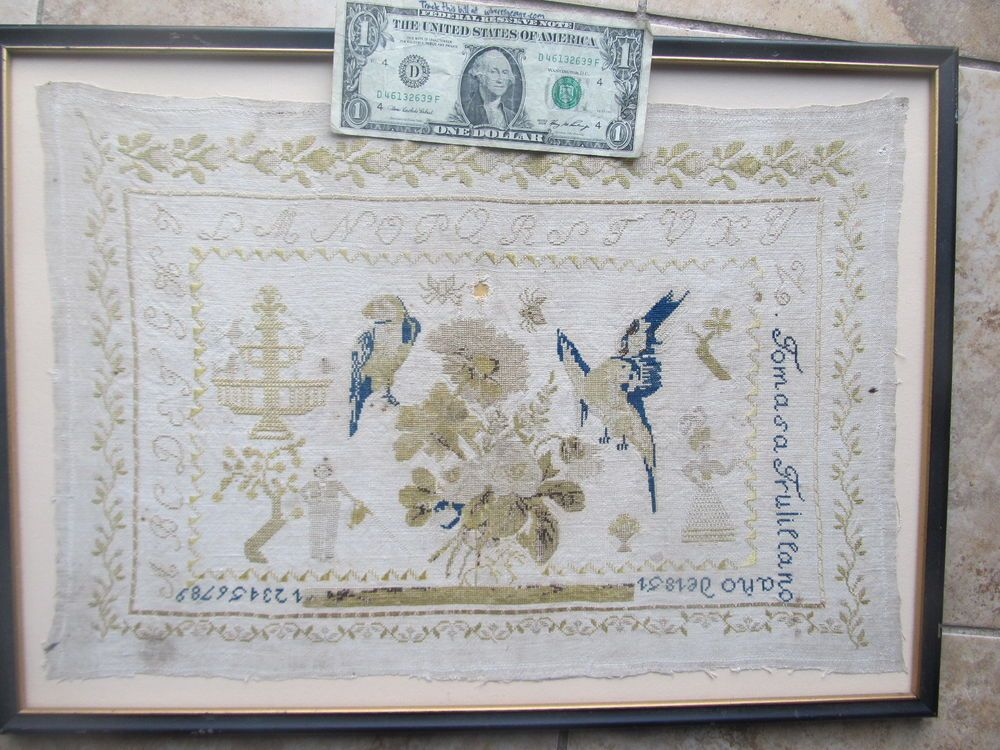 SUPER Antique NAMED 1851 Italian American Embroidered Sampler, NICE CONTENT GIFT