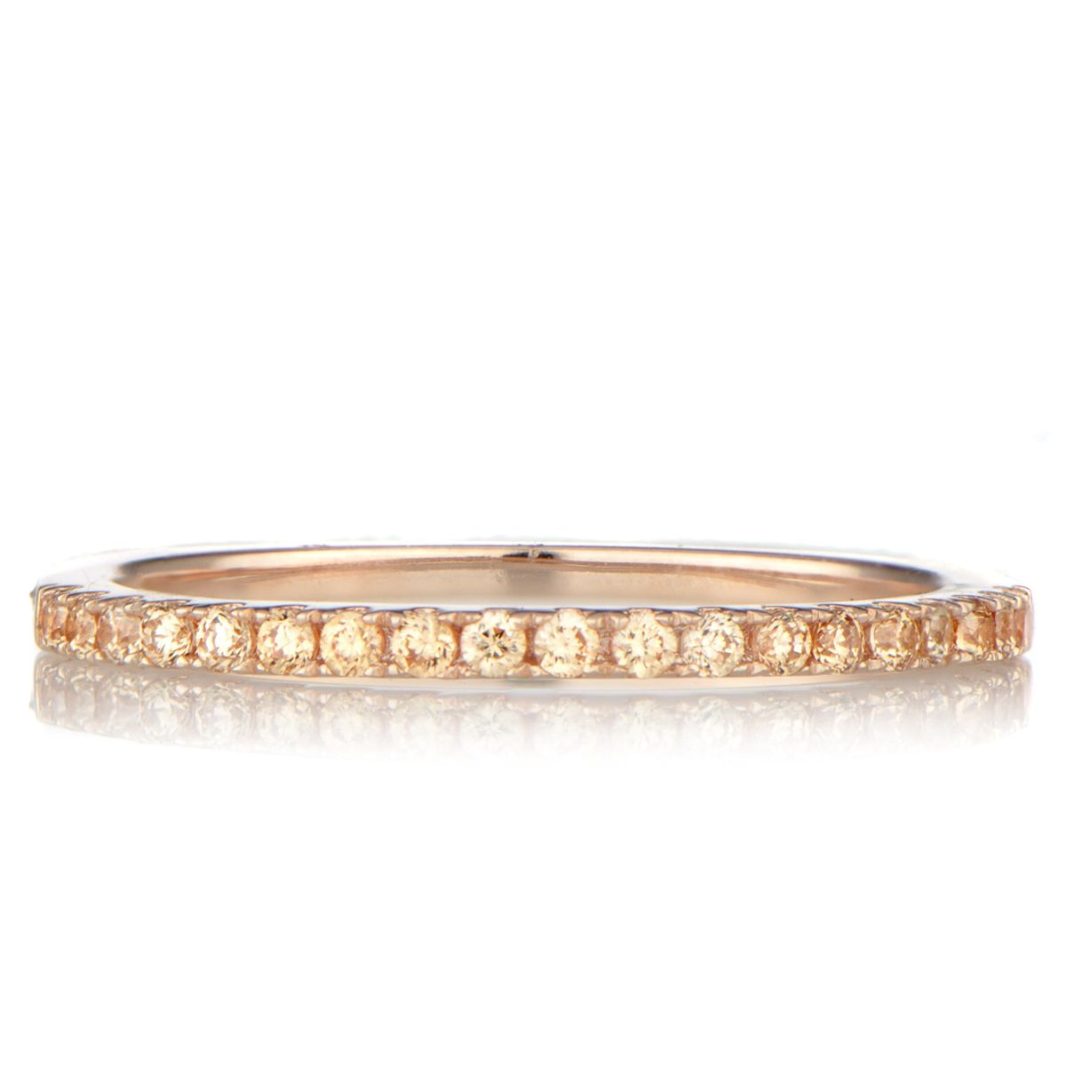 Ana S Rose Goldtone And Champagne Cz Wedding Band