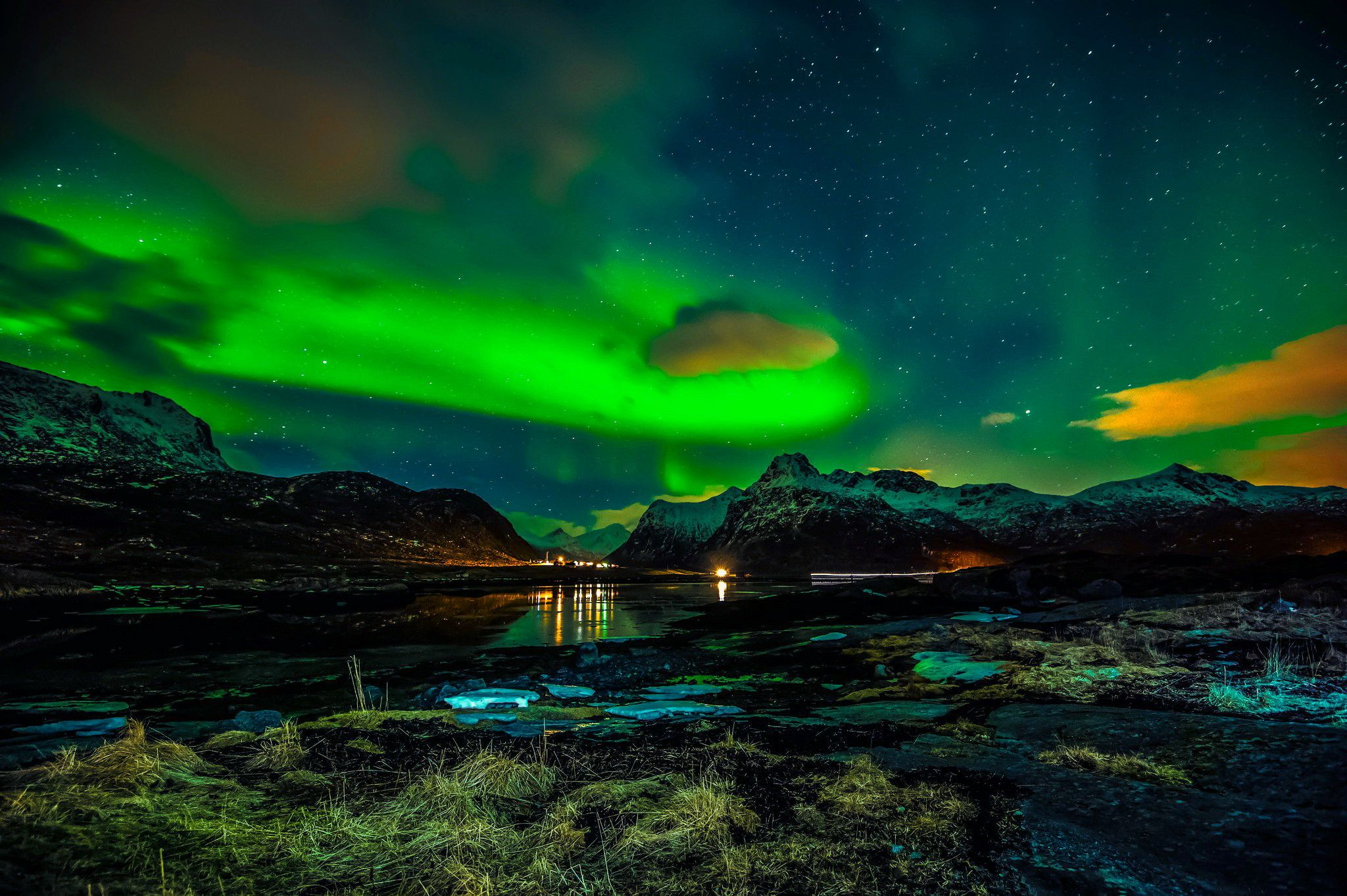 wallpapers winter northern lights night norway the lofoten islands on your desktop picture