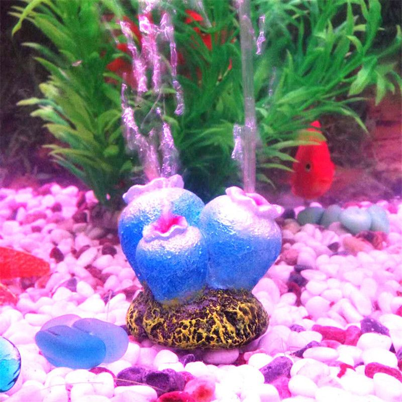Flower Shape Aquarium Fish Tank Decor Ornament Oxygen Pump Air Bubble Stone Drive Toy Nice