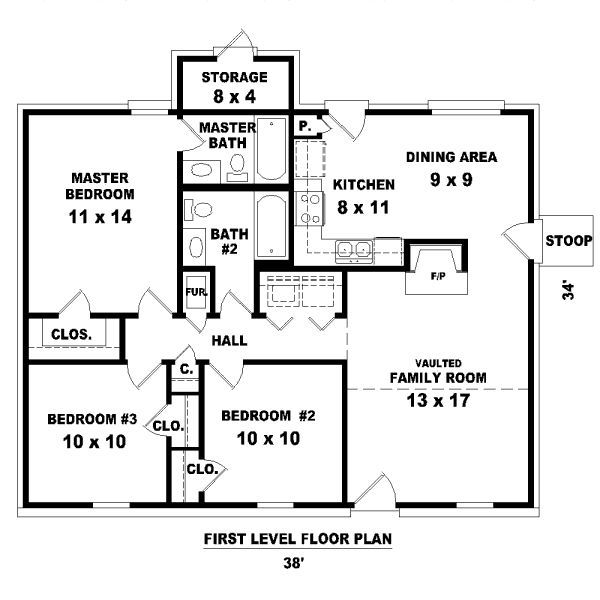 Superieur 3 Bedroom Floorplans | Bedrooms 2 Batrooms On 1 Levels House Plan Square  Feet 1112 Bedrooms