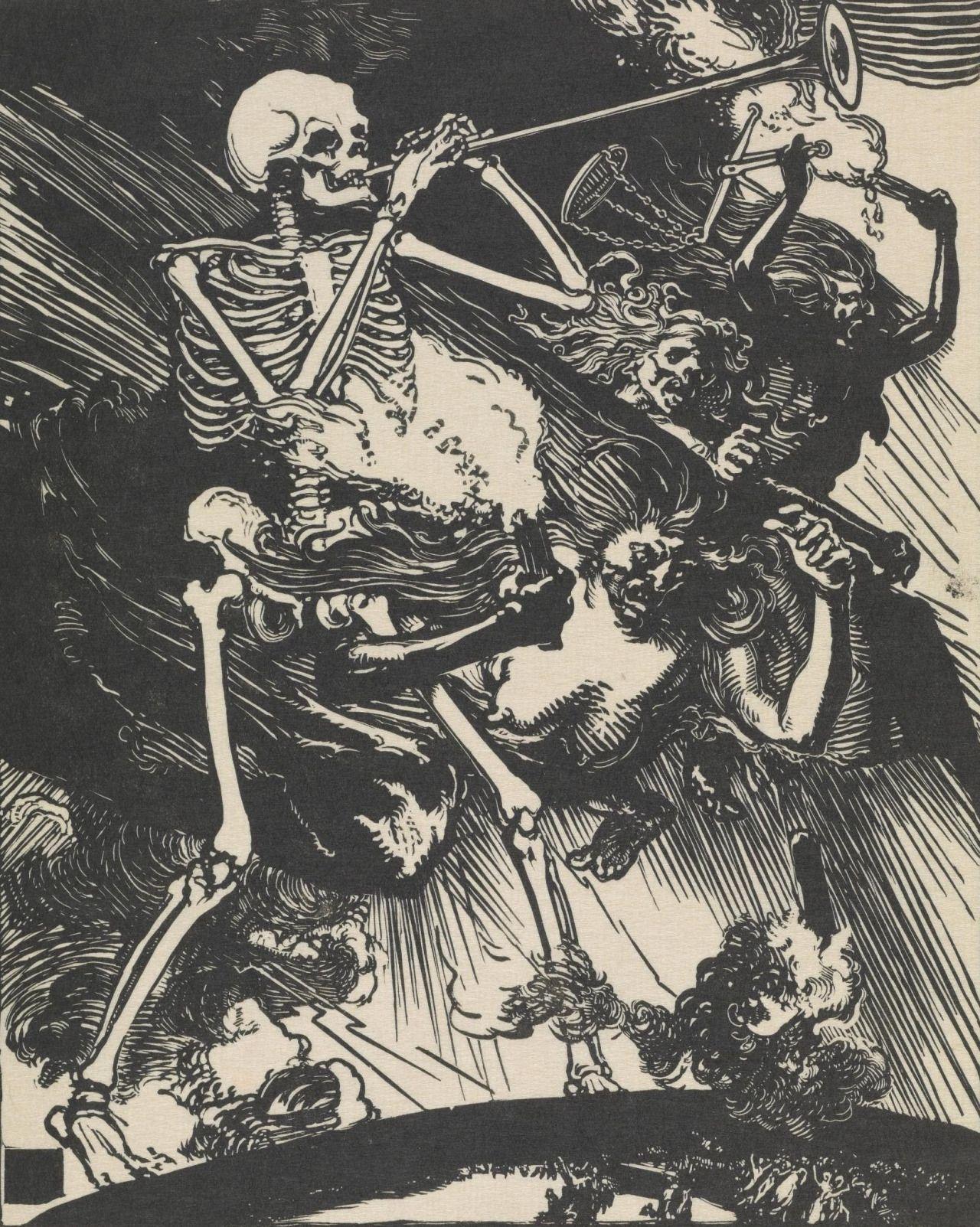 """scribe4haxan: """" Death and Passions Descend upon the World / La Mort et les Passions fondent sur le Monde: La Guerre de 1914 (1914 - Woodcut on Japanese paper) - Auguste Louis Lepère """""""