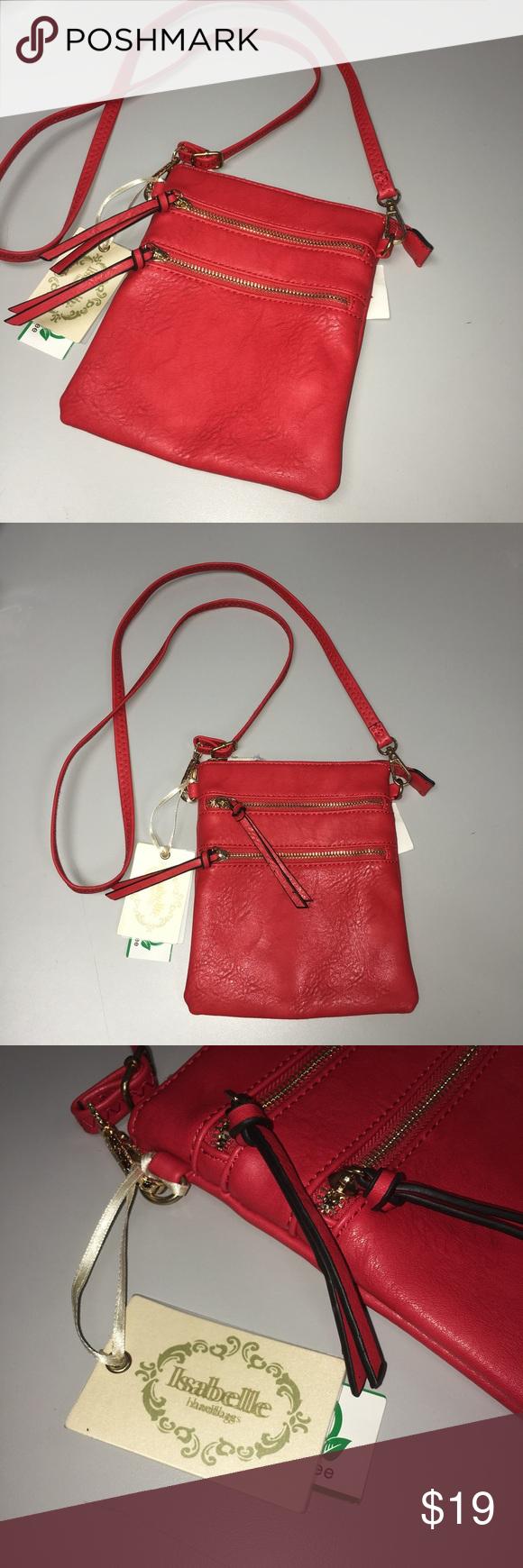Isabelle Handbags Vegan Bpa Free Red Crossbody Nwt Nwts Bags