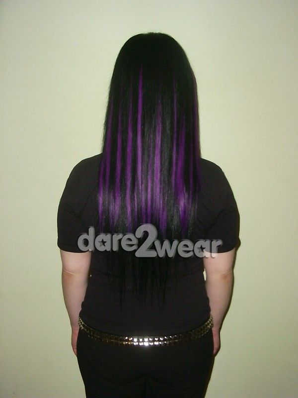 Long Black With Purple Scene Hair Black And Purple Hair Extensions