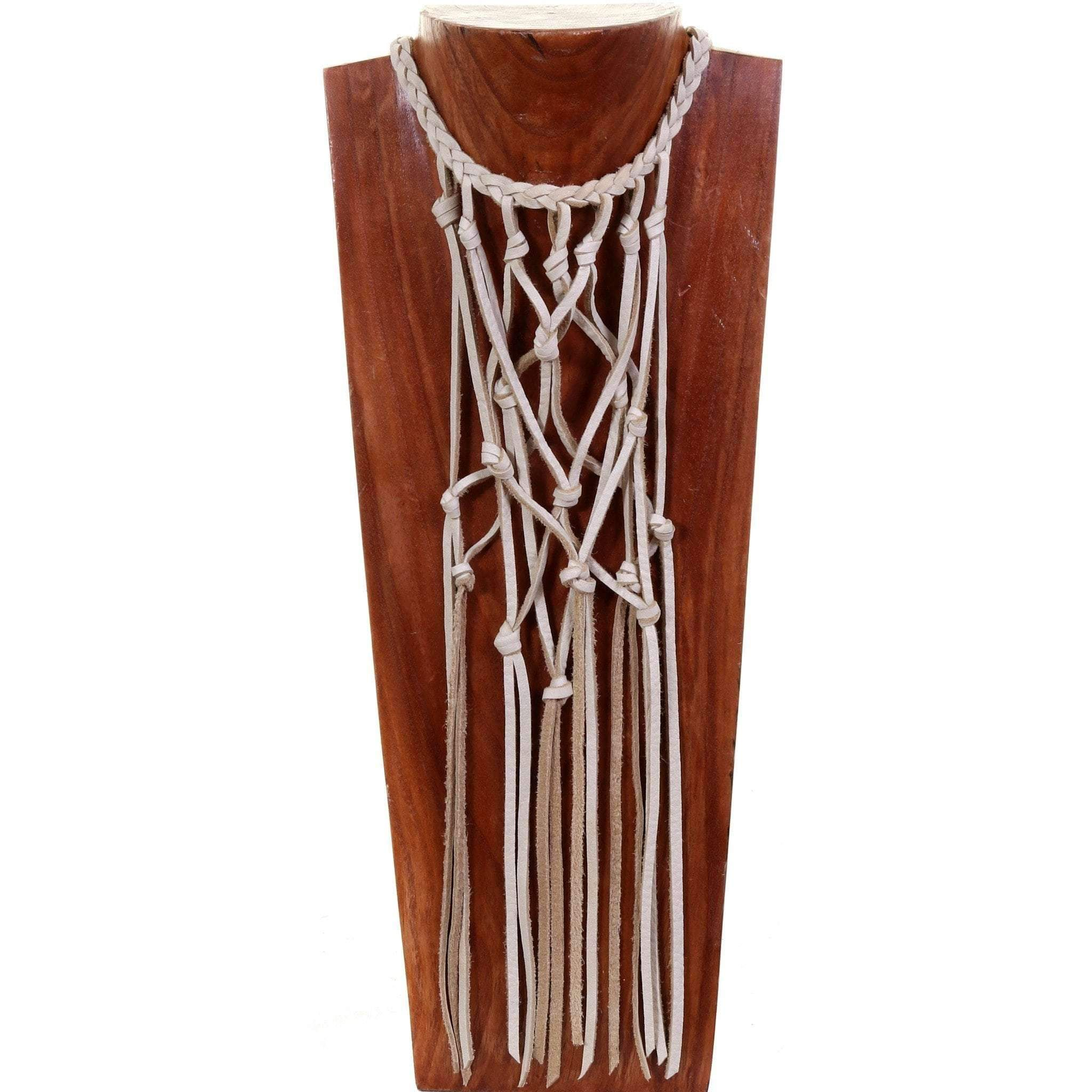 Vestige necklace in cream elk skin, macrame with bone beads.