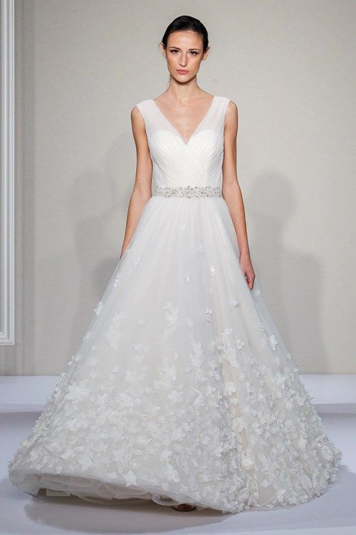 Dennis Basso V-Neck Ball Gown in Tulle and Embroidery ...