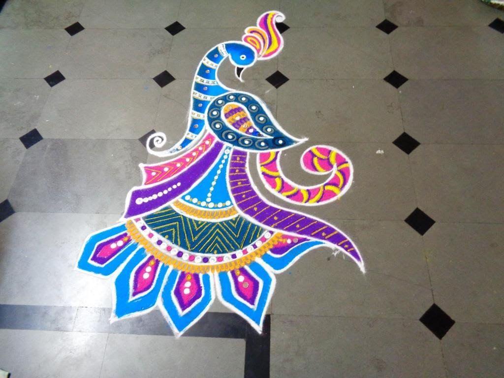 How Tomake Nice Peacock Rangoli Design Created By Latest