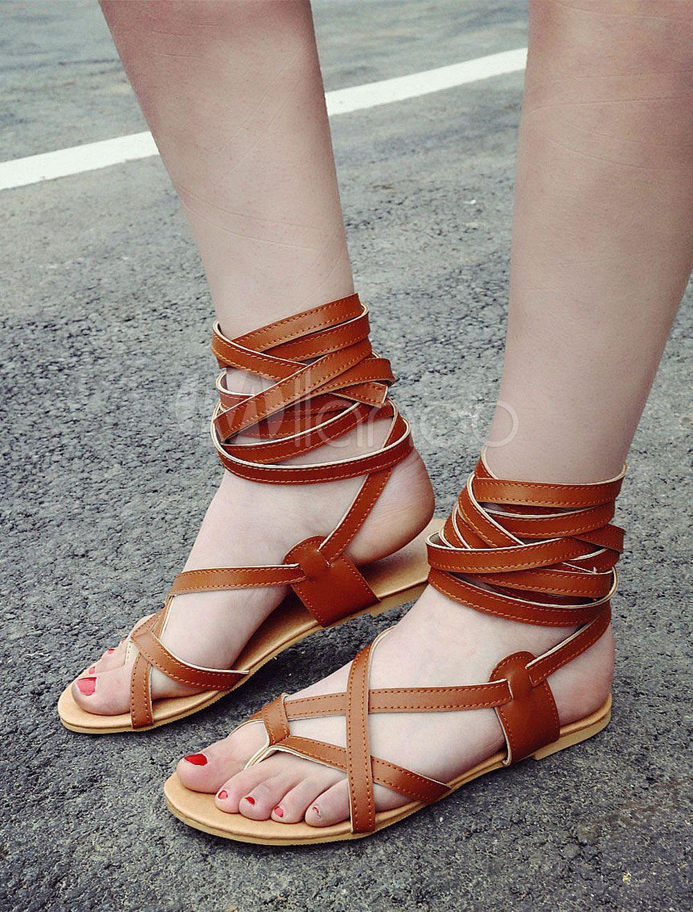 fa902e56 Gladiator correas sandalias marrón encaje hasta pisos de cuero para mujeres