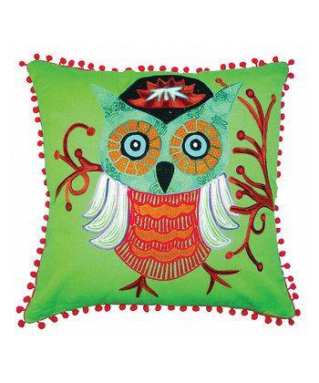 karma living green owl pillow