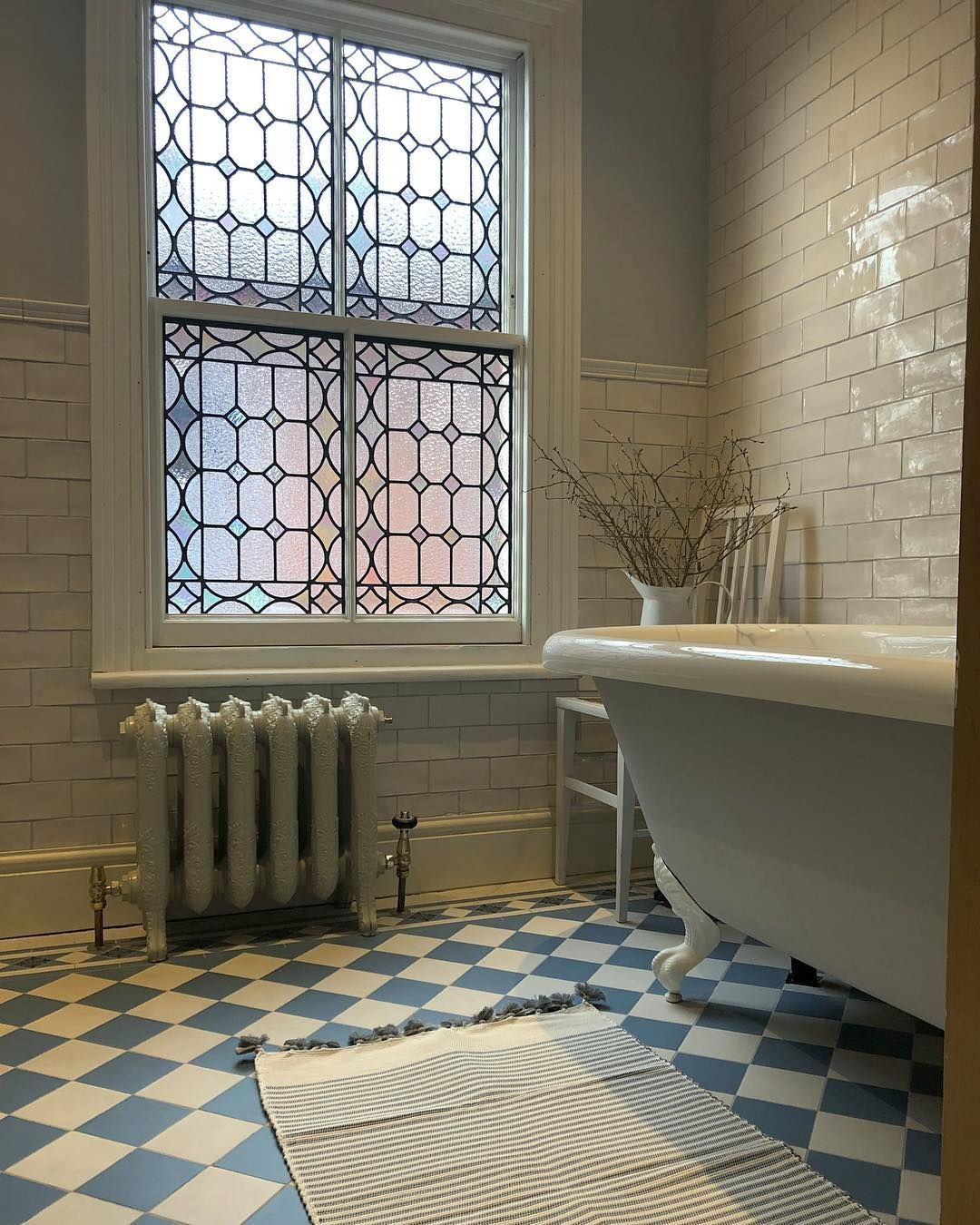 Beautiful Original Windows in Bathroom with Blue and White ...
