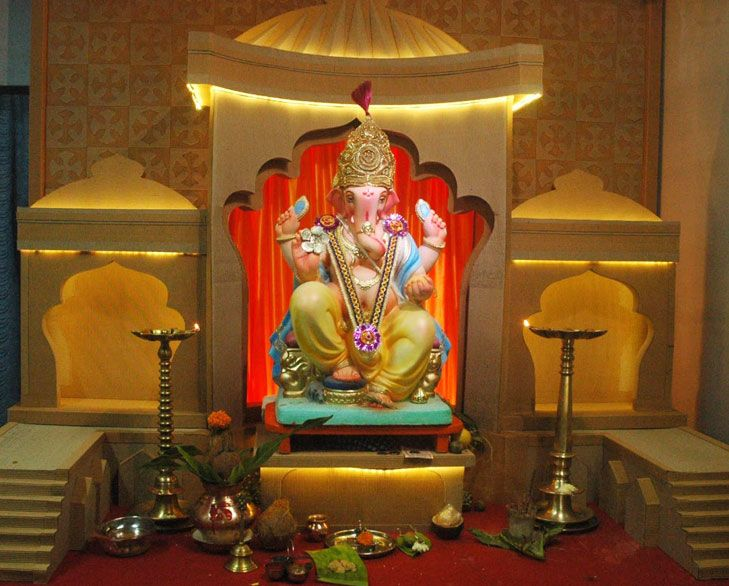 Ganpati decoration ideas for home card boards for Decoration ganpati