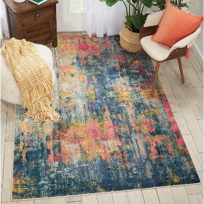 Photo of Nourison Celestial CES09 Blue/Yellow Indoor Area Rug 5'3″ x 7'3″