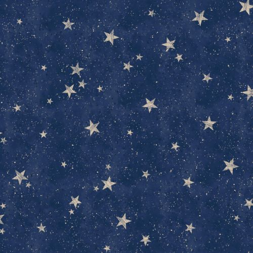 Crown Starlight Stars Wallpaper Navy / Gold M1490 in 2020