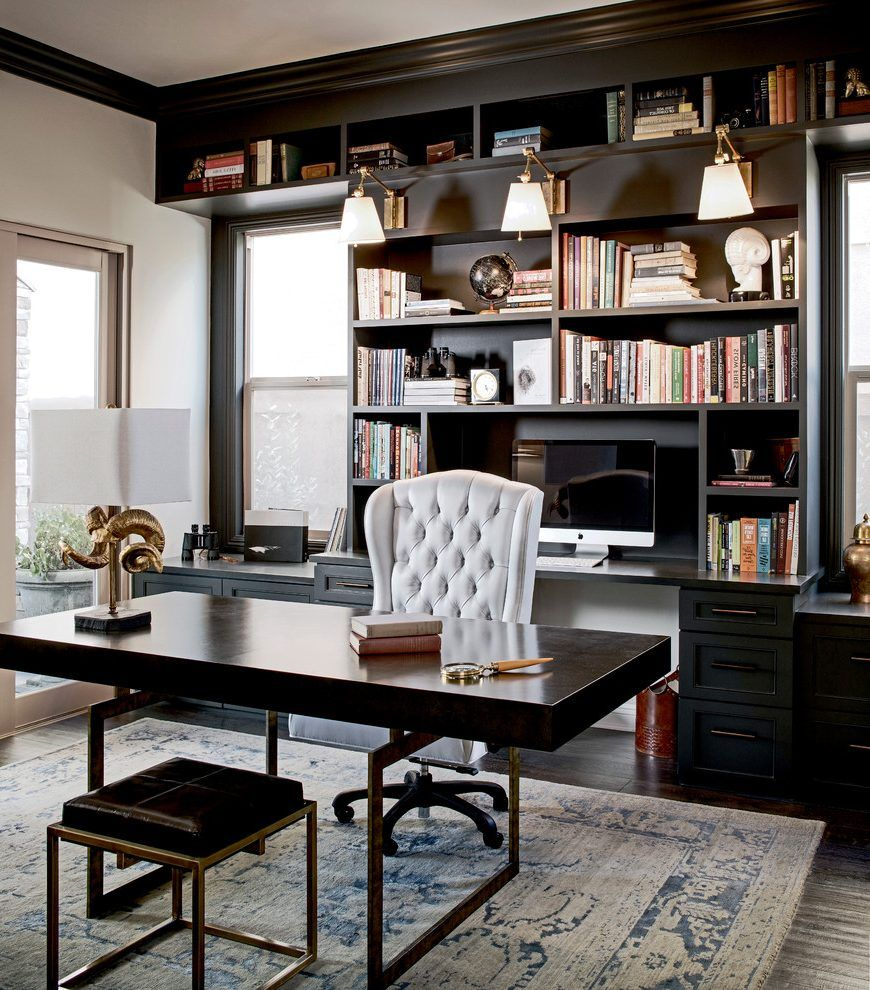 20 Home Office Cupboard Designs Ideas Plans: Black Built Home Office Traditional With Black Office