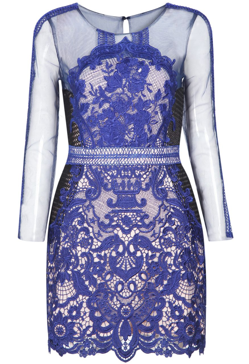 Vestido Bodycon encaje hueco manga larga-azul 42.90 | Cosas para ...